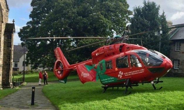 Air Ambulance Lands at Bangor Cathedral