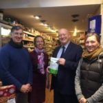 MP Hywel Williams visits Upper Bangor with the message 'shop local'