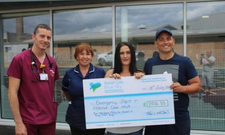 Cycle fundraiser raises over £2,000 for Ysbyty Gwynedd