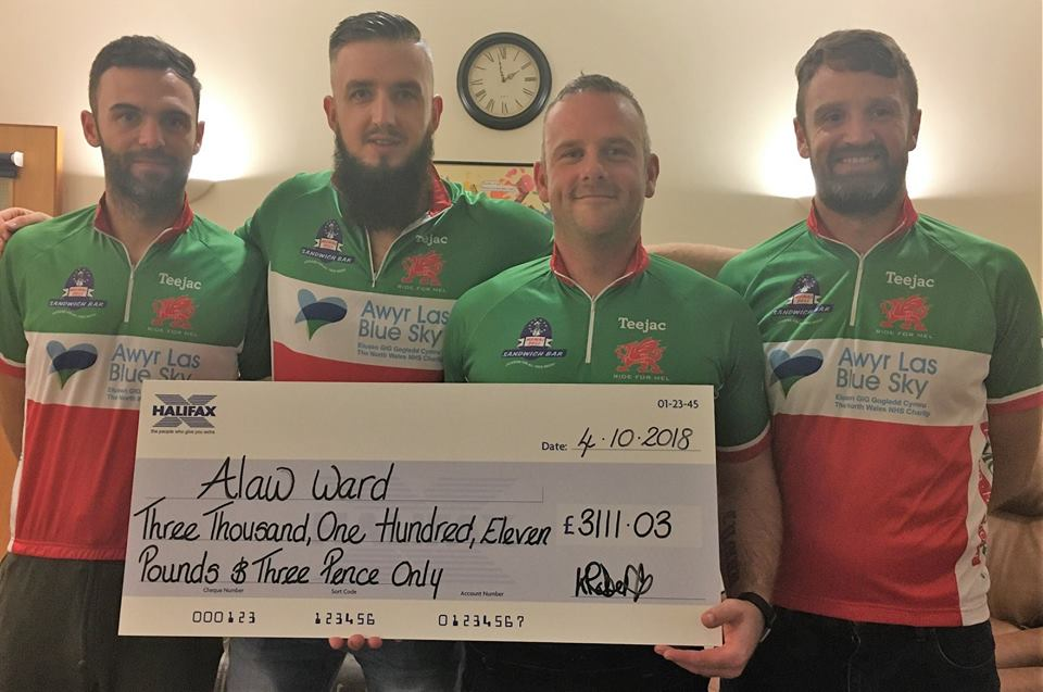 Bangor to Cardiff cycle ride raises £3,000 for Alaw ward