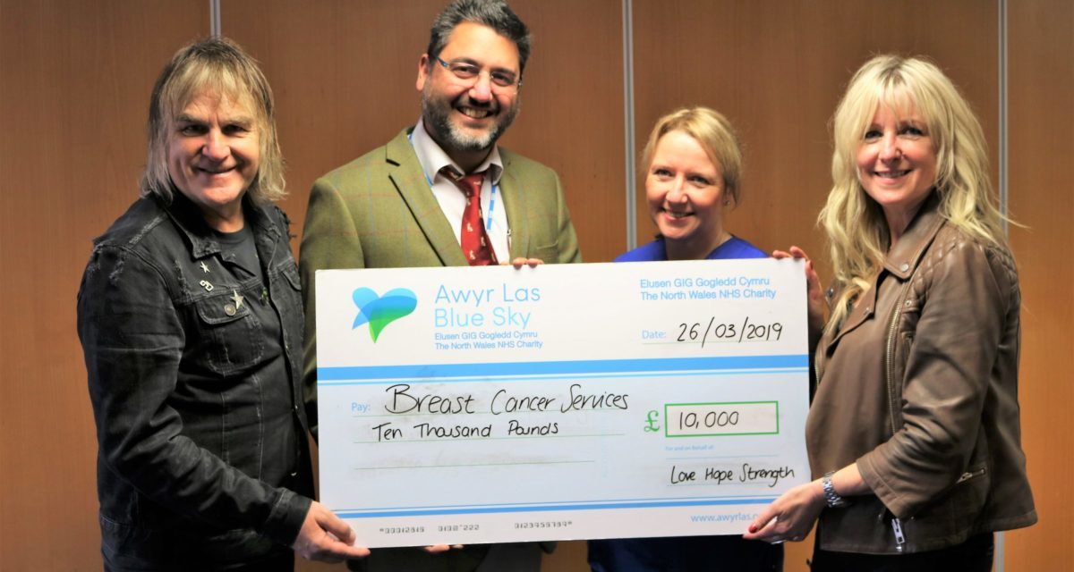 Love Hope Strength Charity donate £10,000 to Ysbyty Gwynedd Breast Cancer Services