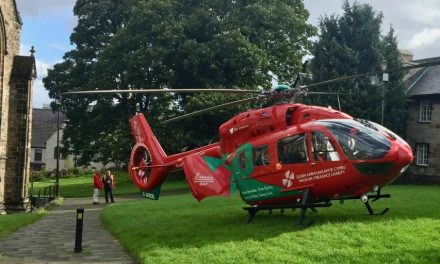 Air Ambulance Lands at Bangor Cathedral