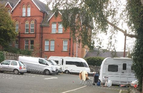 Travellers in Kyffin Square Car Park Bangor