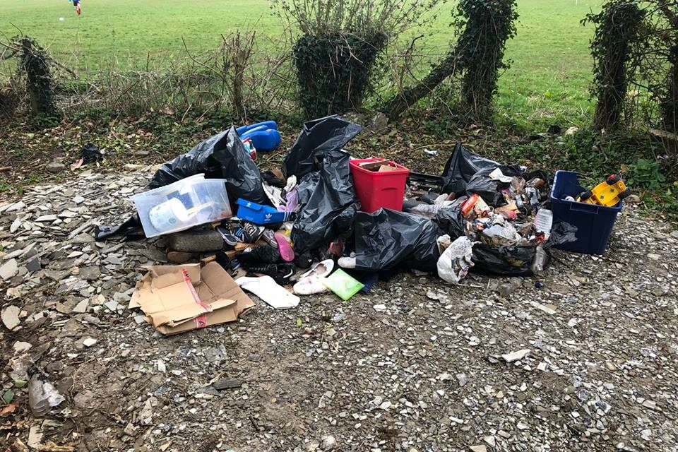 Fly-tippers leave rubbish next to Penrhosgarnedd football pitch