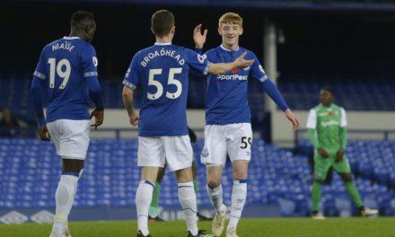 Nathan Broadhead scores as Everton hit Gor for Four