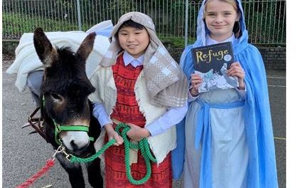 Our Lady's Primary School welcome Snowdonia Donkeys
