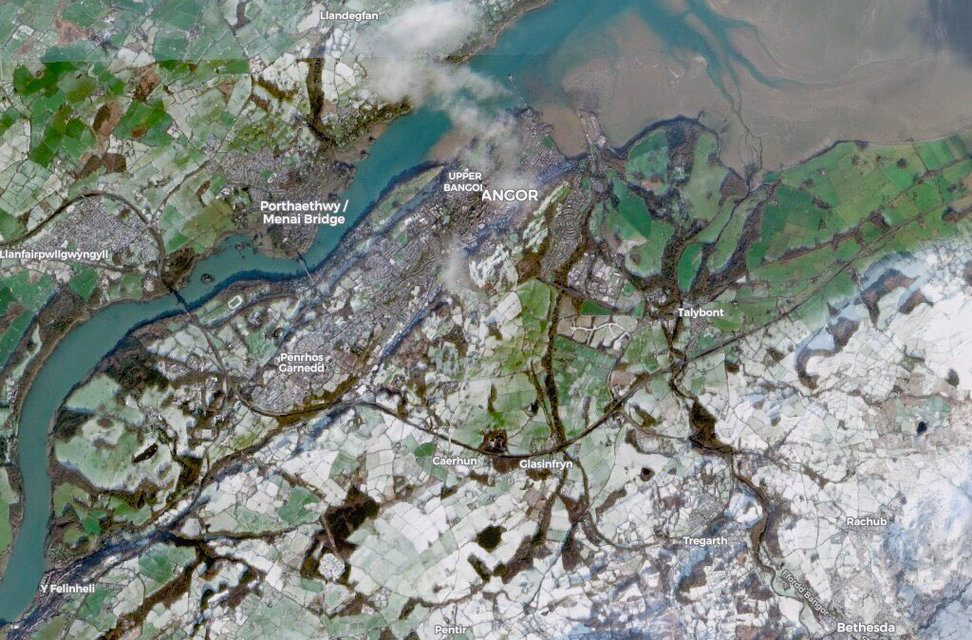 Global Monitoring Satellite captures image of snowy Bangor