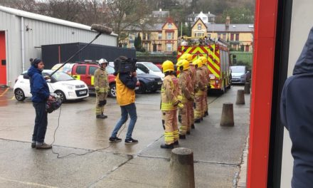S4C Film at Bangor Fire Station for new series of 'Ffit Cymru'