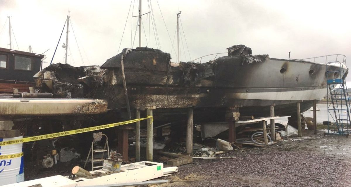 Luxury yacht devastated by fire at Port Penrhyn