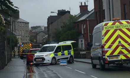 Homes evacuated and road closed after Bangor High Street house fire