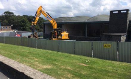 Demolition work starts on former Engineering building at Coleg Menai