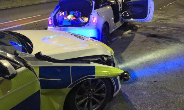 Police car damaged in high speed A55 pursuit near Bangor