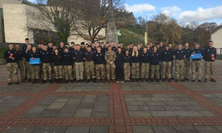 Military Students clean Bangor Cenotaph ready for remembrance service